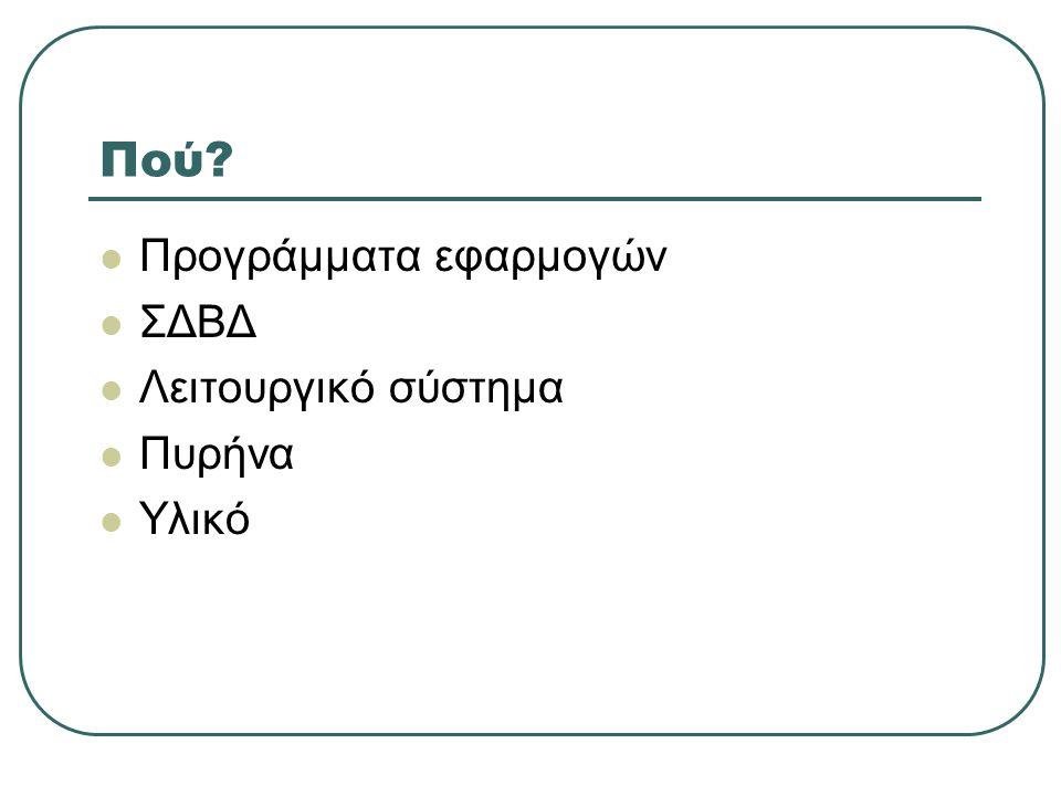 Πού?  Προγράμματα εφαρμογών  ΣΔΒΔ  Λειτουργικό σύστημα  Πυρήνα  Υλικό