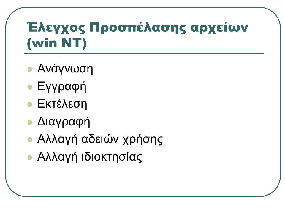 Έλεγχος Προσπέλασης αρχείων (win NT)  Ανάγνωση  Εγγραφή  Εκτέλεση  Διαγραφή  Αλλαγή αδειών χρήσης  Αλλαγή ιδιοκτησίας