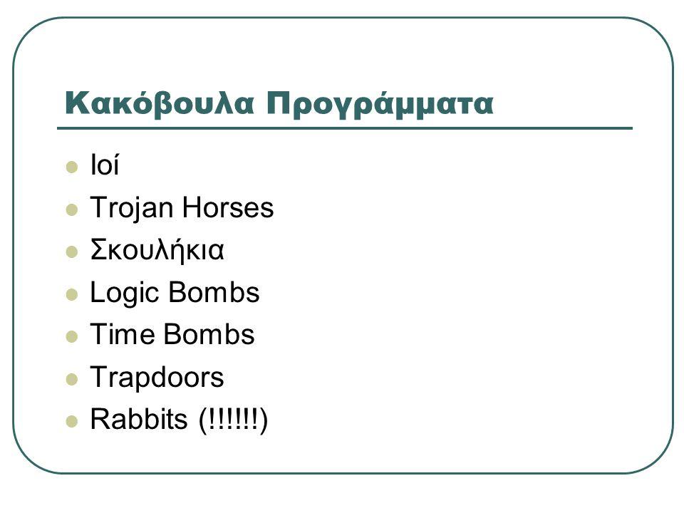 Κακόβουλα Προγράμματα  Ιοί  Trojan Horses  Σκουλήκια  Logic Bombs  Time Bombs  Trapdoors  Rabbits (!!!!!!)