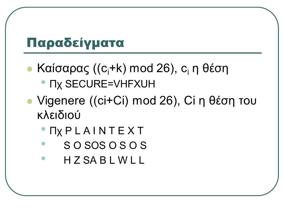 Παραδείγματα  Καίσαρας ((c i +k) mod 26), c i η θέση • Πχ SECURE=VHFXUH  Vigenere ((ci+Ci) mod 26), Ci η θέση του κλειδιού • Πχ P L A I N T E X T • S O SOS O S O S • H Z SA B L W L L