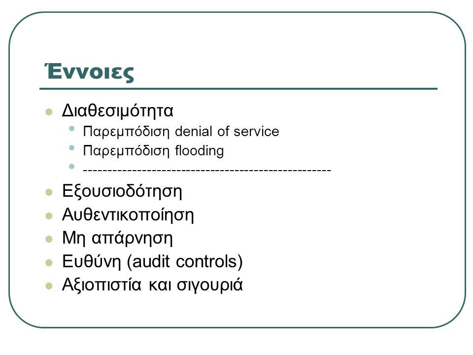 Έννοιες  Διαθεσιμότητα • Παρεμπόδιση denial of service • Παρεμπόδιση flooding • ---------------------------------------------------  Εξουσιοδότηση  Αυθεντικοποίηση  Μη απάρνηση  Ευθύνη (audit controls)  Αξιοπιστία και σιγουριά