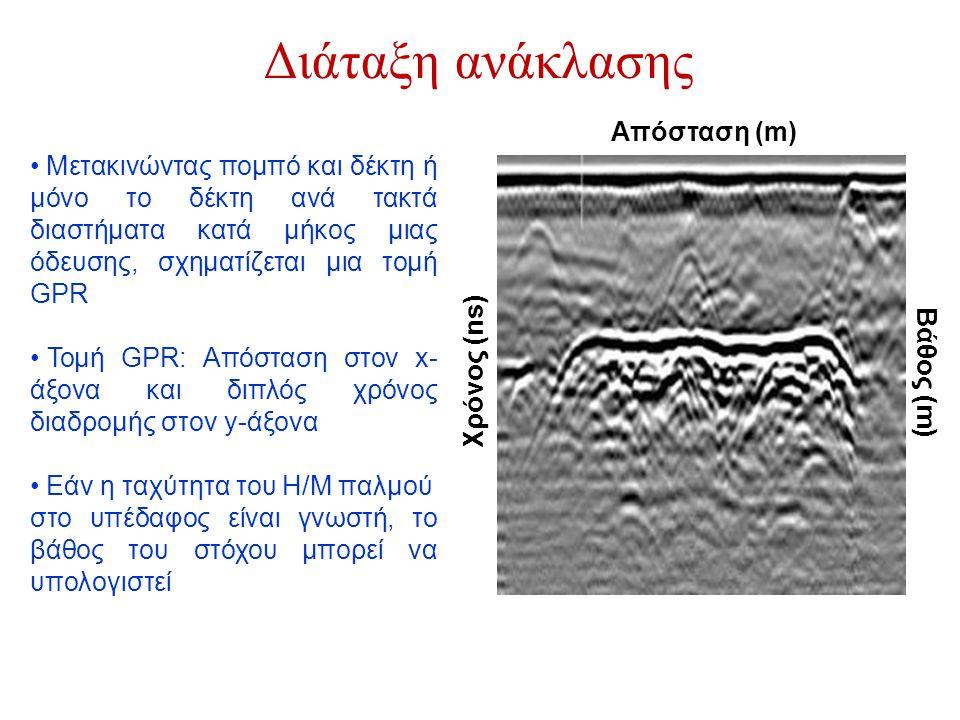 • Μετακινώντας πομπό και δέκτη ή μόνο το δέκτη ανά τακτά διαστήματα κατά μήκος μιας όδευσης, σχηματίζεται μια τομή GPR • Τομή GPR: Απόσταση στον x- άξ
