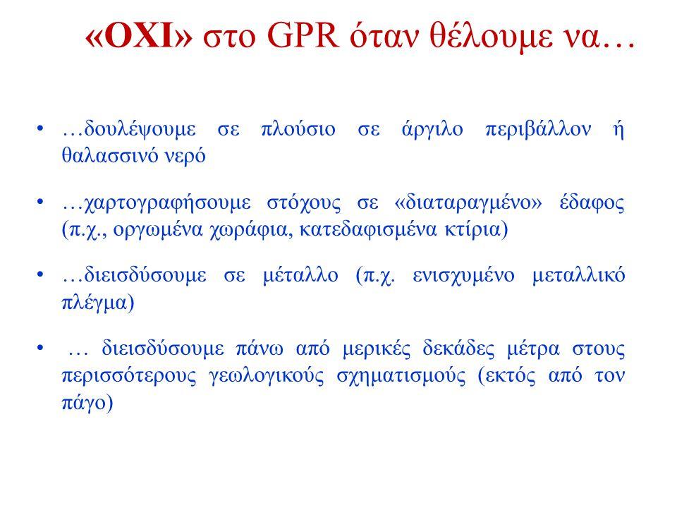 GPR ← Μονάδα ελέγχου & Φορητός υπολογιστής ← Πομπός & δέκτης → Οδόμετρο