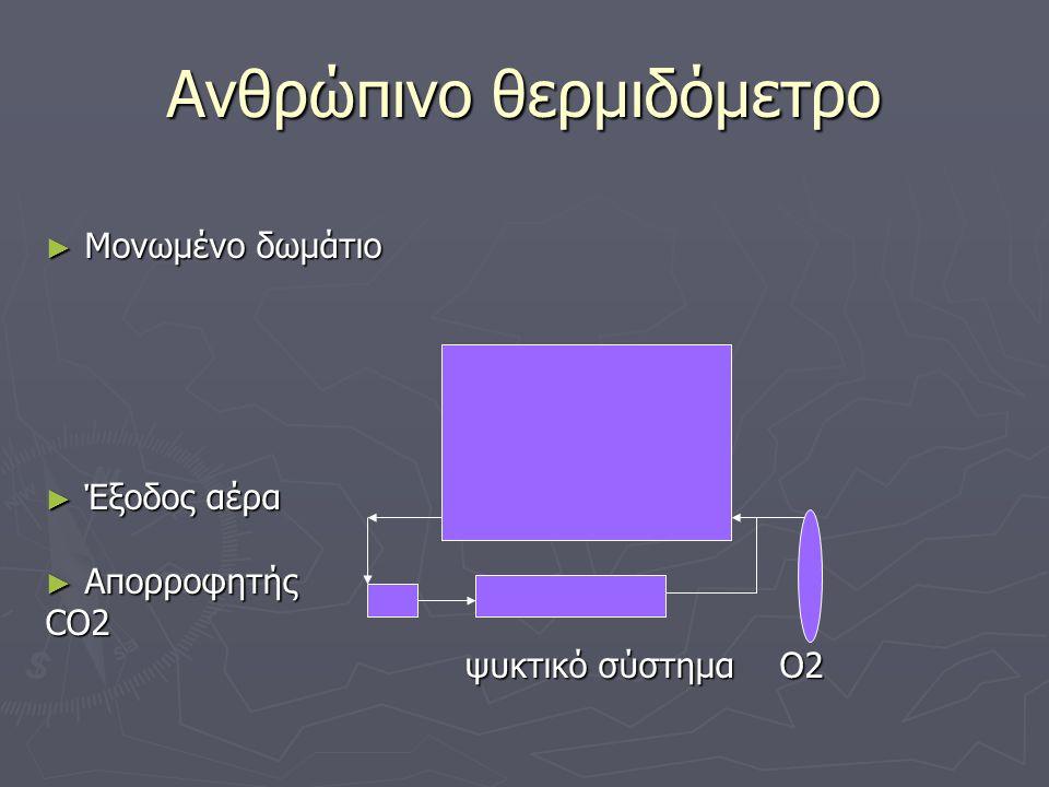 Αρχές λειτουργίας του ανθρώπινου θερμιδόμετρου ► Θάλαμος αεροστεγής ► Υπάρχει ποσότητα οξυγόνου που επαρκεί για άσκηση μεγάλης διάρκειας ► Στο πάνω μέρος του θαλάμου κυκλοφορεί νερό γνωστού όγκου και θερμοκρασίας, μέσα από μια σειρά σπειρών ► Επειδή ο θάλαμος είναι μονωμένος, η παραγόμενη από το άτομο θερμότητα απορροφάται από το νερό που κυκλοφορεί ► Η μεταβολή της θερμοκρασίας του νερού είναι ανάλογη με την παραγωγή ενέργειας