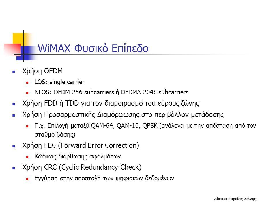 Δίκτυα Ευρείας Ζώνης WiMAX Φυσικό Επίπεδο  Χρήση OFDM  LOS: single carrier  NLOS: OFDM 256 subcarriers ή OFDMA 2048 subcarriers  Χρήση FDD ή TDD γ
