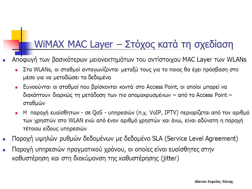 Δίκτυα Ευρείας Ζώνης WiMAX MAC Layer – Στόχος κατά τη σχεδίαση  Αποφυγή των βασικότερων μειονεκτημάτων του αντίστοιχου MAC Layer των WLANs  Στα WLAN
