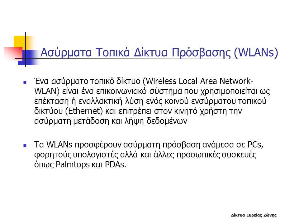 Δίκτυα Ευρείας Ζώνης Ασύρματα Τοπικά Δίκτυα Πρόσβασης (WLANs)  Ένα ασύρματο τοπικό δίκτυο (Wireless Local Area Network- WLAN) είναι ένα επικοινωνιακό