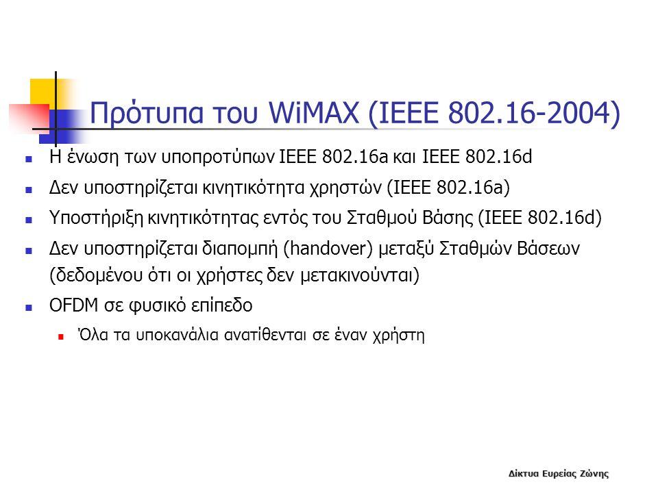 Δίκτυα Ευρείας Ζώνης Πρότυπα του WiMAX (IEEE 802.16-2004)  Η ένωση των υποπροτύπων ΙΕΕΕ 802.16a και ΙΕΕΕ 802.16d  Δεν υποστηρίζεται κινητικότητα χρη