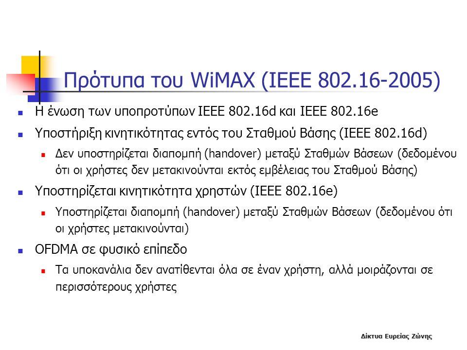 Δίκτυα Ευρείας Ζώνης Πρότυπα του WiMAX (IEEE 802.16-2005)  Η ένωση των υποπροτύπων ΙΕΕΕ 802.16d και IEEE 802.16e  Υποστήριξη κινητικότητας εντός του