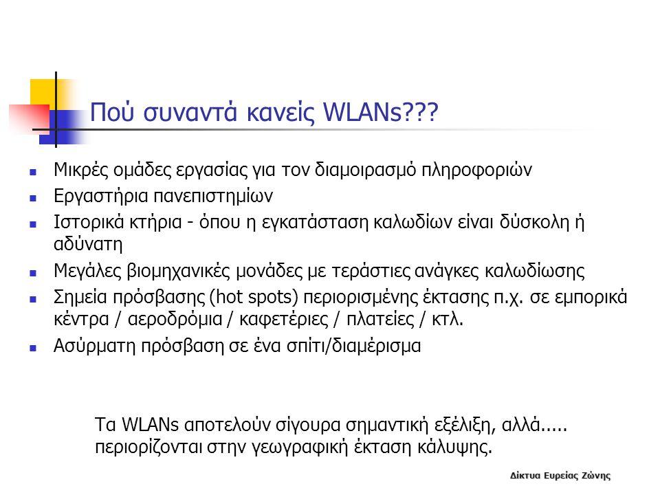 Δίκτυα Ευρείας Ζώνης Πού συναντά κανείς WLANs???  Μικρές ομάδες εργασίας για τον διαμοιρασμό πληροφοριών  Εργαστήρια πανεπιστημίων  Ιστορικά κτήρια