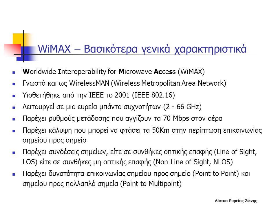 Δίκτυα Ευρείας Ζώνης WiMAX – Βασικότερα γενικά χαρακτηριστικά  Worldwide Interoperability for Microwave Access (WiMAX)  Γνωστό και ως WirelessMAN (W