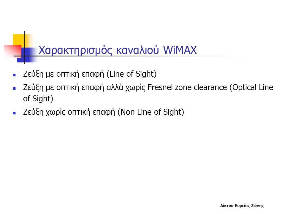 Δίκτυα Ευρείας Ζώνης Χαρακτηρισμός καναλιού WiMAX  Ζεύξη με οπτική επαφή (Line of Sight)  Ζεύξη με οπτική επαφή αλλά χωρίς Fresnel zone clearance (O