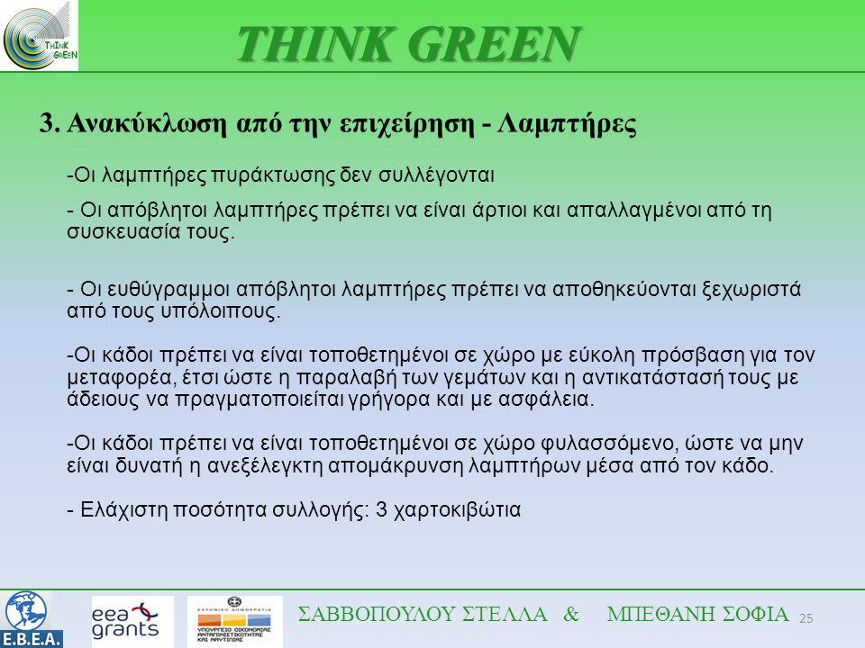 25 THINK GREEN ΣΑΒΒΟΠΟΥΛΟΥ ΣΤΕΛΛΑ & ΜΠΕΘΑΝΗ ΣΟΦΙΑ 3. Ανακύκλωση από την επιχείρηση - Λαμπτήρες -Οι λαμπτήρες πυράκτωσης δεν συλλέγονται - Οι απόβλητοι