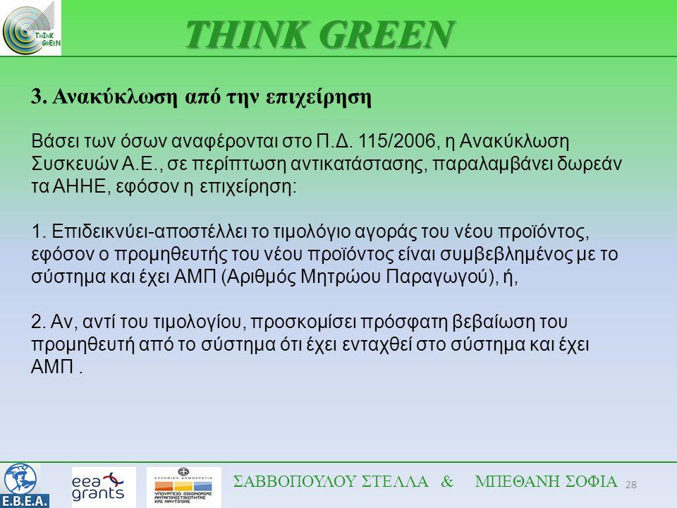 28 THINK GREEN ΣΑΒΒΟΠΟΥΛΟΥ ΣΤΕΛΛΑ & ΜΠΕΘΑΝΗ ΣΟΦΙΑ 3. Ανακύκλωση από την επιχείρηση Βάσει των όσων αναφέρονται στο Π.Δ. 115/2006, η Ανακύκλωση Συσκευών