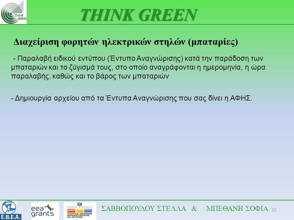 32 THINK GREEN ΣΑΒΒΟΠΟΥΛΟΥ ΣΤΕΛΛΑ & ΜΠΕΘΑΝΗ ΣΟΦΙΑ Διαχείριση φορητών ηλεκτρικών στηλών (μπαταρίες) - Παραλαβή ειδικού εντύπου (Έντυπο Αναγνώρισης) κατ