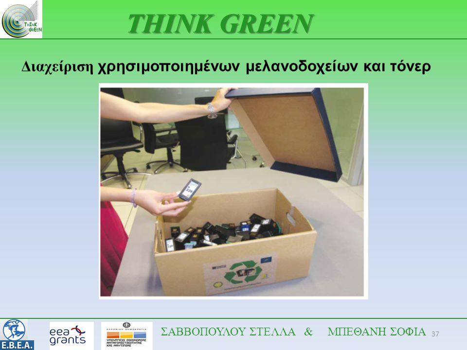 37 THINK GREEN ΣΑΒΒΟΠΟΥΛΟΥ ΣΤΕΛΛΑ & ΜΠΕΘΑΝΗ ΣΟΦΙΑ Διαχείριση χρησιμοποιημένων μελανοδοχείων και τόνερ