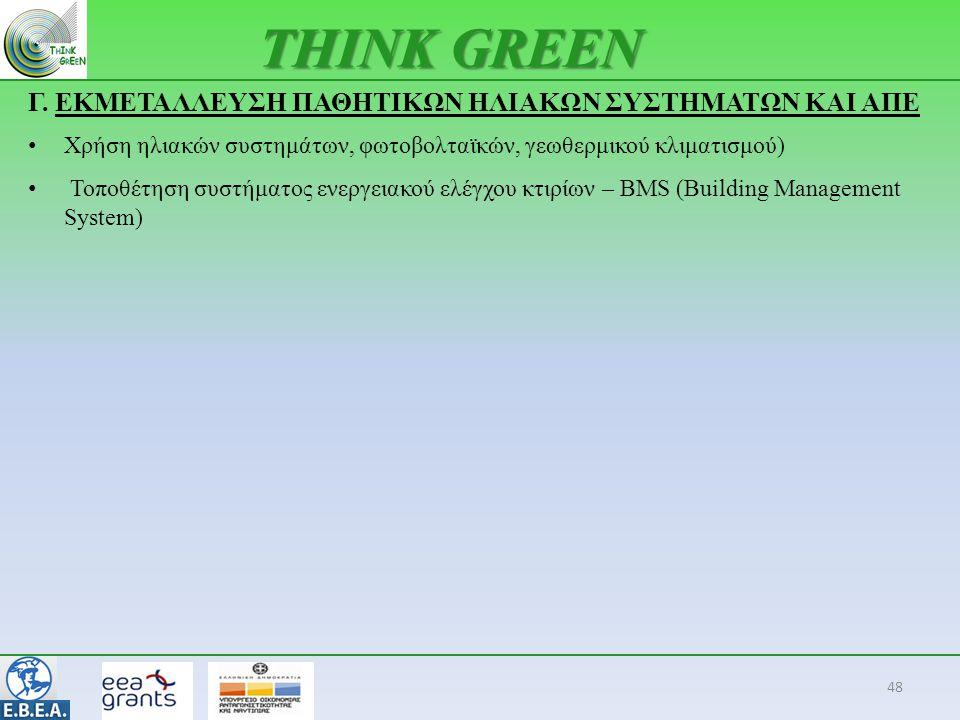 48 THINK GREEN Γ. ΕΚΜΕΤΑΛΛΕΥΣΗ ΠΑΘΗΤΙΚΩΝ ΗΛΙΑΚΩΝ ΣΥΣΤΗΜΑΤΩΝ ΚΑΙ ΑΠΕ • Χρήση ηλιακών συστημάτων, φωτοβολταϊκών, γεωθερμικού κλιματισμού) • Τοποθέτηση σ