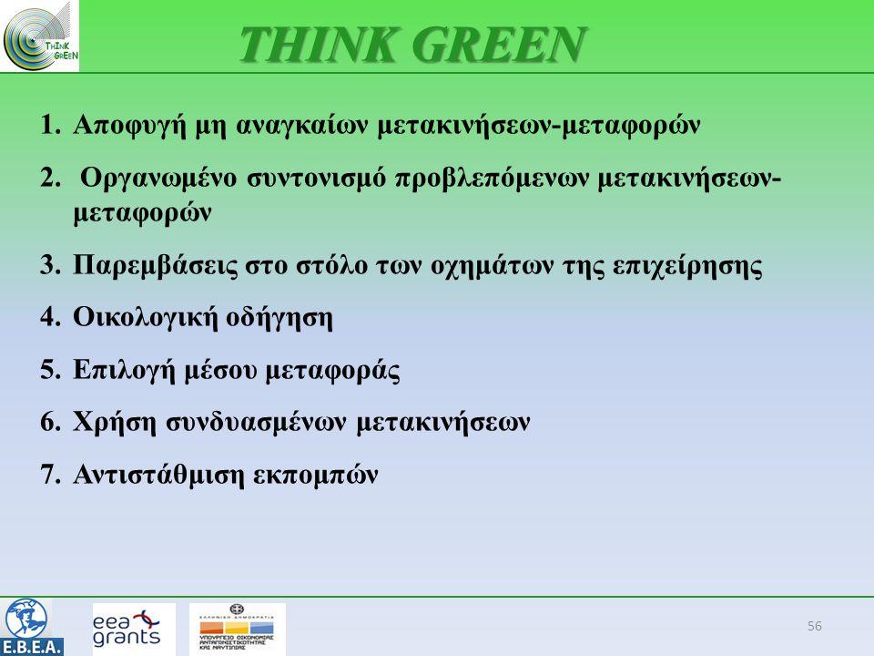 56 THINK GREEN 1.Αποφυγή μη αναγκαίων μετακινήσεων-μεταφορών 2. Οργανωμένο συντονισμό προβλεπόμενων μετακινήσεων- μεταφορών 3.Παρεμβάσεις στο στόλο τω
