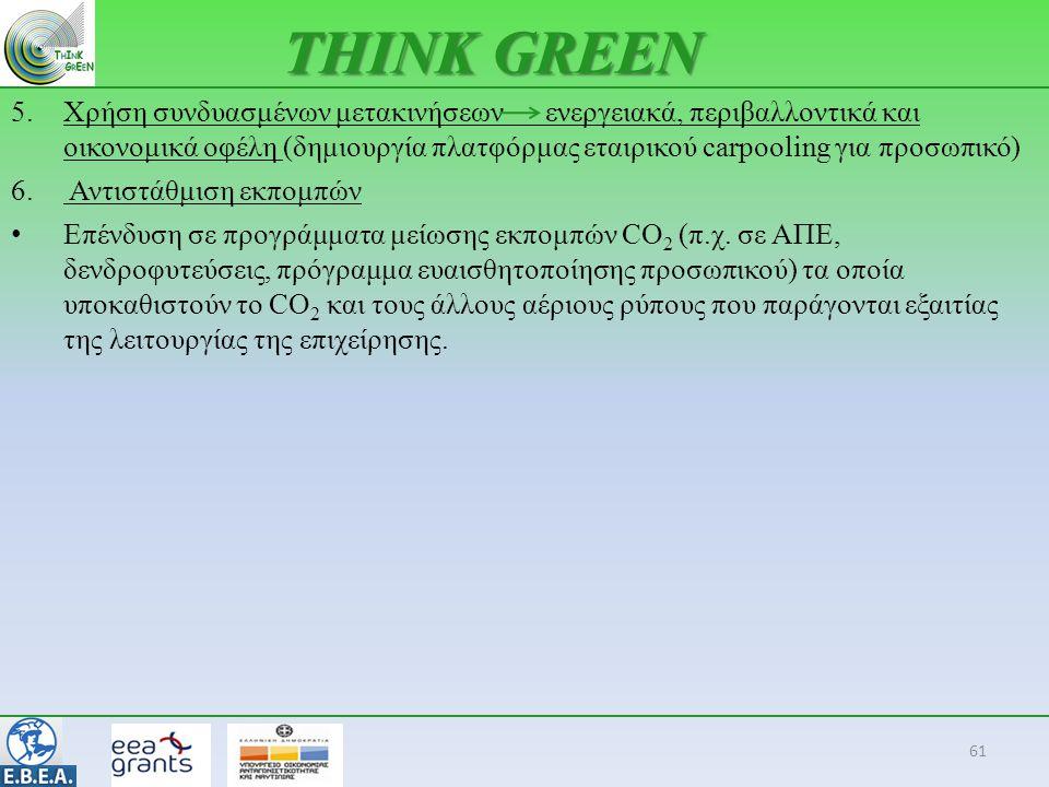 61 THINK GREEN 5.Χρήση συνδυασμένων μετακινήσεων ενεργειακά, περιβαλλοντικά και οικονομικά οφέλη (δημιουργία πλατφόρμας εταιρικού carpooling για προσω