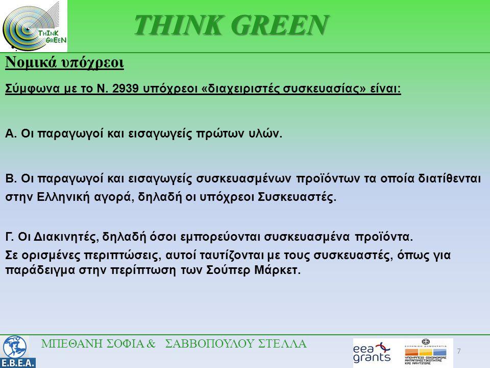 7 •.•. THINK GREEN Νομικά υπόχρεοι Σύμφωνα με το Ν. 2939 υπόχρεοι «διαχειριστές συσκευασίας» είναι: A. Οι παραγωγοί και εισαγωγείς πρώτων υλών. B. Οι