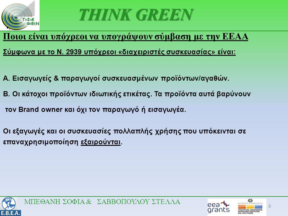 8 •.•. THINK GREEN Ποιοι είναι υπόχρεοι να υπογράψουν σύμβαση με την ΕΕΑΑ Σύμφωνα με το Ν. 2939 υπόχρεοι «διαχειριστές συσκευασίας» είναι: A. Εισαγωγε