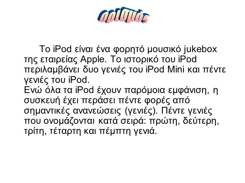 Το iPod είναι ένα φορητό μουσικό jukebox της εταιρείας Apple.