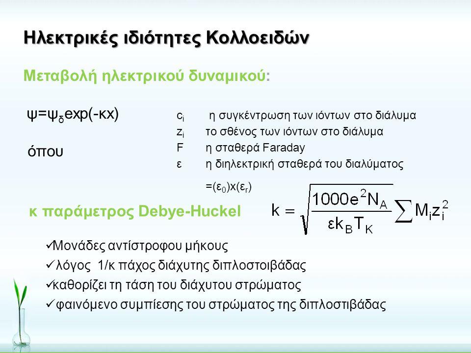 Μεταβολή ηλεκτρικού δυναμικού: ψ=ψ δ exp(-κx) όπου κ παράμετρος Debye-Huckel  Μονάδες αντίστροφου μήκους  λόγος 1/κ πάχος διάχυτης διπλοστοιβάδας 