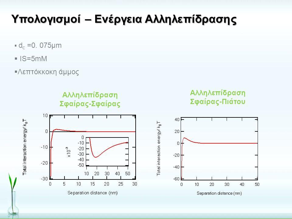 Υπολογισμοί – Ενέργεια Αλληλεπίδρασης  d c =0. 075μm  IS=5mM  Λεπτόκκοκη άμμος Αλληλεπίδραση Σφαίρας-Πιάτου Αλληλεπίδραση Σφαίρας-Σφαίρας