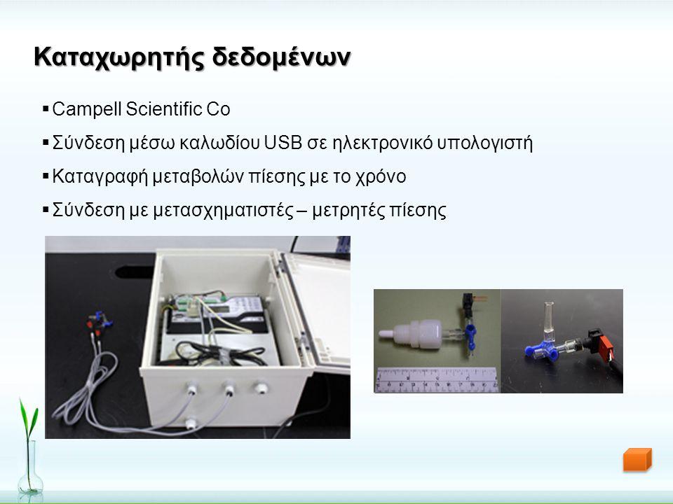 Καταχωρητής δεδομένων  Campell Scientific Co  Σύνδεση μέσω καλωδίου USB σε ηλεκτρονικό υπολογιστή  Καταγραφή μεταβολών πίεσης με το χρόνο  Σύνδεση