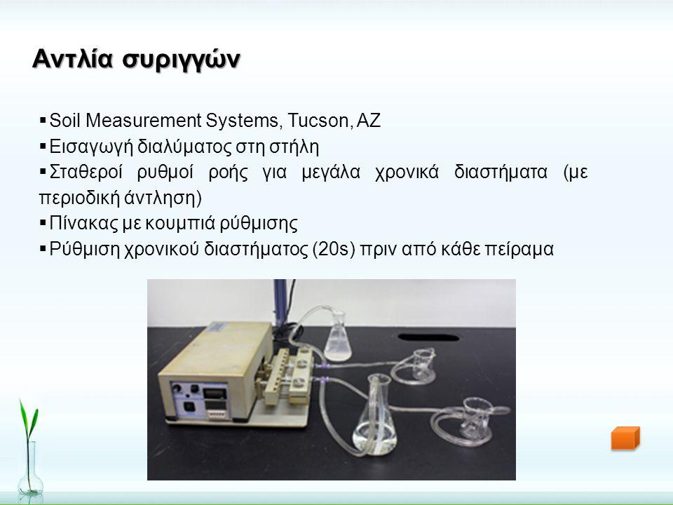 Αντλία συριγγών  Soil Measurement Systems, Tucson, AZ  Εισαγωγή διαλύματος στη στήλη  Σταθεροί ρυθμοί ροής για μεγάλα χρονικά διαστήματα (με περιοδ