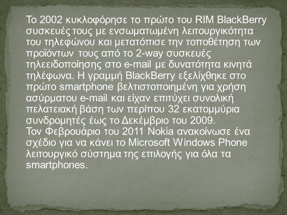 Το 2002 κυκλοφόρησε το πρώτο του RIM BlackBerry συσκευές τους με ενσωματωμένη λειτουργικότητα του τηλεφώνου και μετατόπισε την τοποθέτηση των προϊόντω