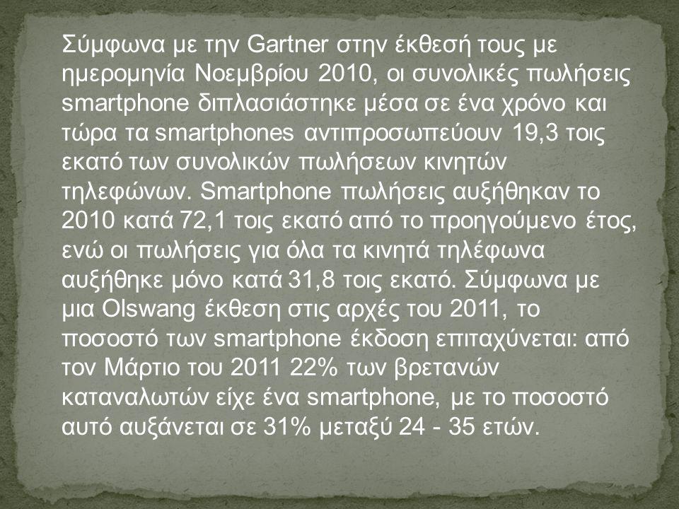 Σύμφωνα με την Gartner στην έκθεσή τους με ημερομηνία Νοεμβρίου 2010, οι συνολικές πωλήσεις smartphone διπλασιάστηκε μέσα σε ένα χρόνο και τώρα τα sma