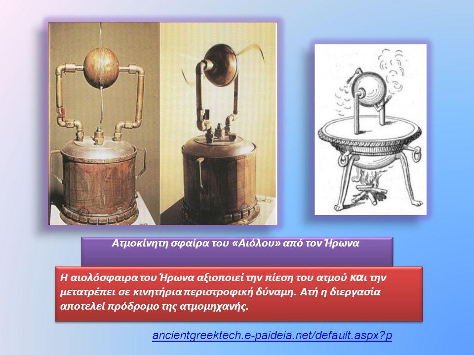 Ατμοκίνητη σφαίρα του «Αιόλου» από τον Ήρωνα Η αιολόσφαιρα του Ήρωνα αξιοποιεί την πίεση του ατμού κα ι την μετατρέπει σε κινητήρια περιστροφική δύναμ