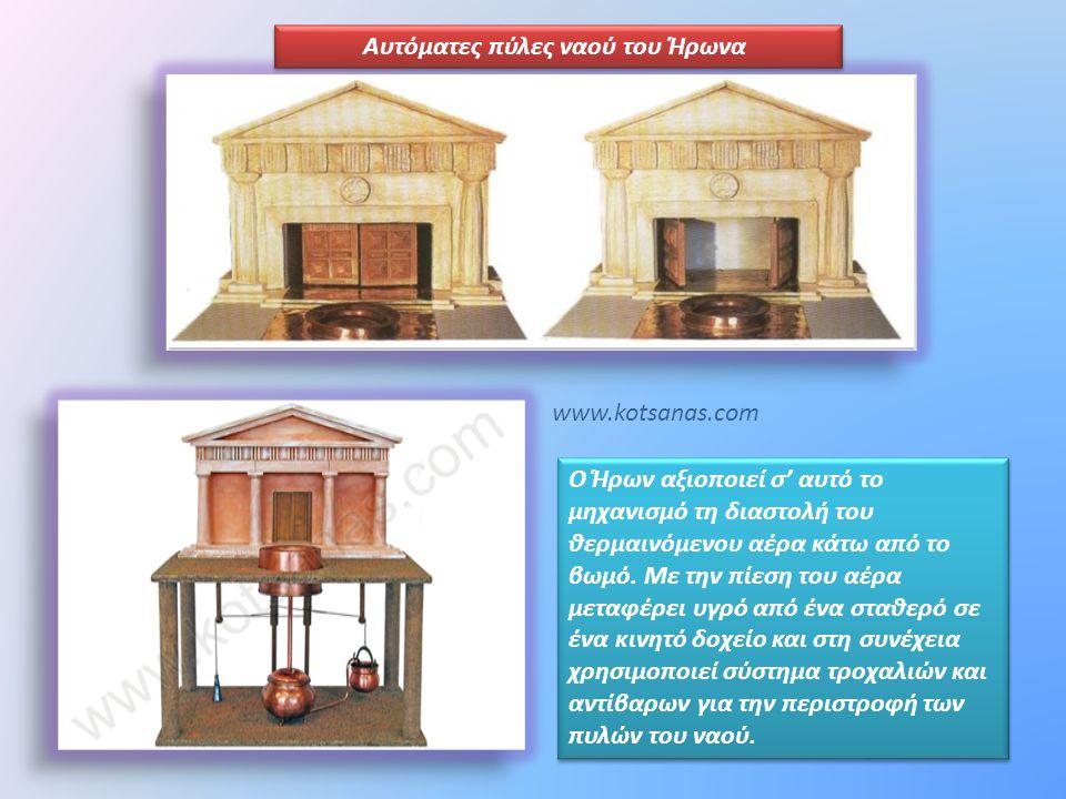 Αυτόματες πύλες ναού του Ήρωνα Ο Ήρων αξιοποιεί σ' αυτό το μηχανισμό τη διαστολή του θερμαινόμενου αέρα κάτω από το βωμό. Με την πίεση του αέρα μεταφέ