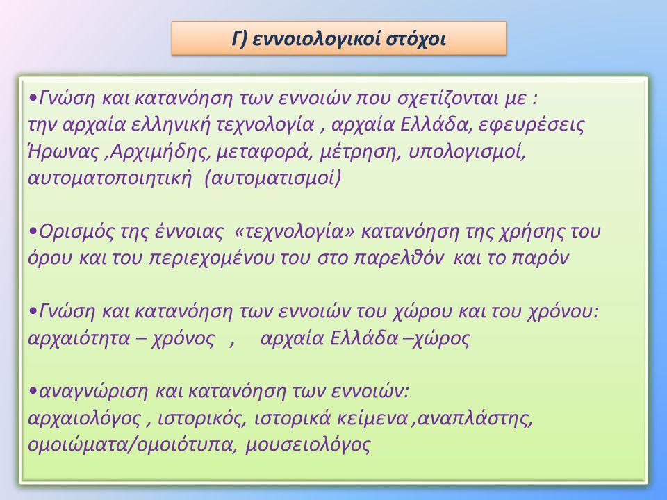 Γ) εννοιολογικοί στόχοι •Γνώση και κατανόηση των εννοιών που σχετίζονται με : την αρχαία ελληνική τεχνολογία, αρχαία Ελλάδα, εφευρέσεις Ήρωνας,Αρχιμήδ
