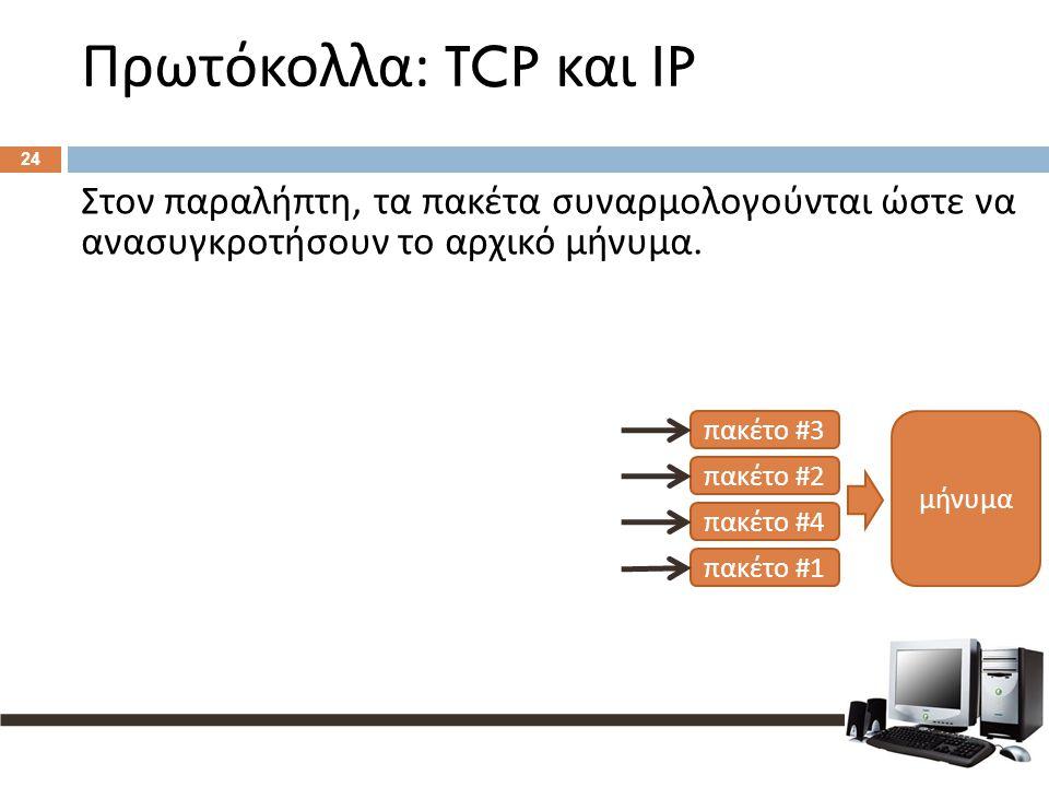 Πρωτόκολλα : TCP και IP 24 Στον παραλήπτη, τα πακέτα συναρμολογούνται ώστε να ανασυγκροτήσουν το αρχικό μήνυμα. μήνυμα π ακέτο #3 π ακέτο #2 π ακέτο #