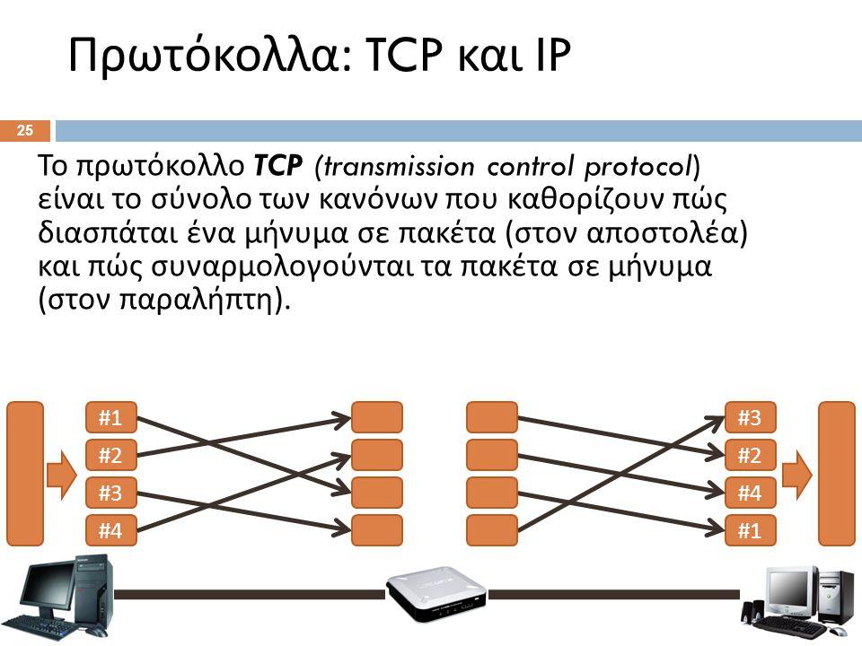 Πρωτόκολλα : TCP και IP 25 Το πρωτόκολλο TCP (transmission control protocol) είναι το σύνολο των κανόνων που καθορίζουν πώς διασπάται ένα μήνυμα σε πα