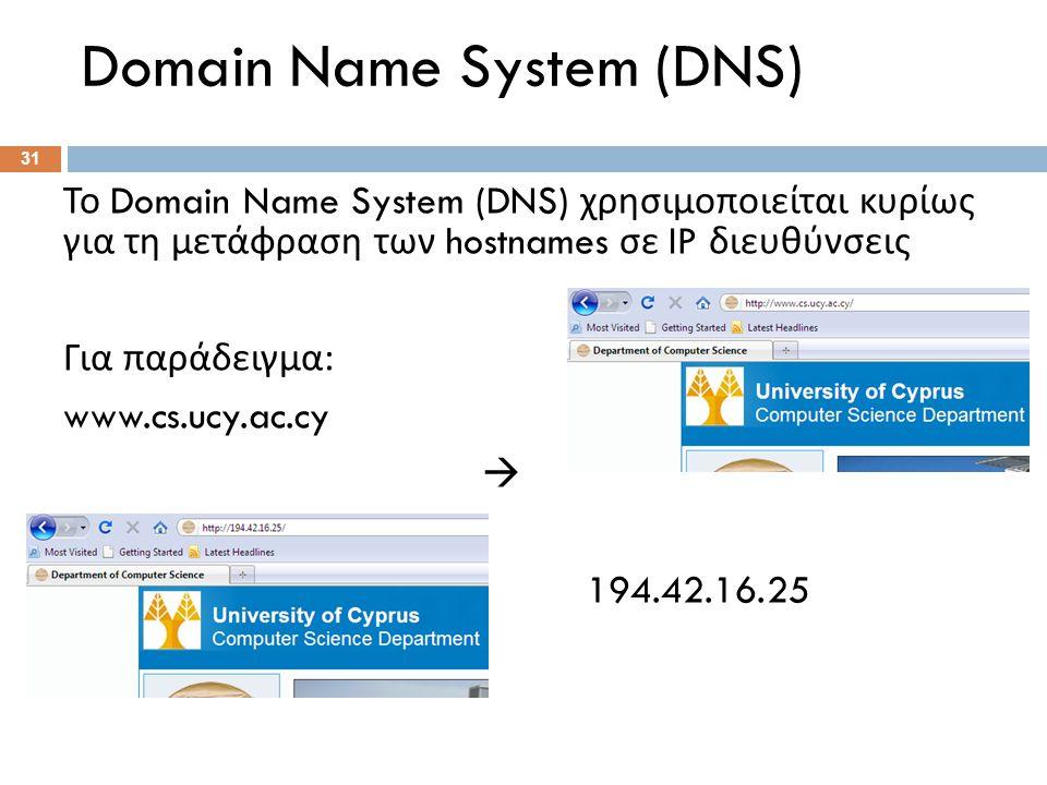 Το Domain Name System (DNS) χρησιμοποιείται κυρίως για τη μετάφραση των hostnames σε IP διευθύνσεις Για παράδειγμα : www.cs.ucy.ac.cy  194.42.16.25 Domain Name System (DNS) 31