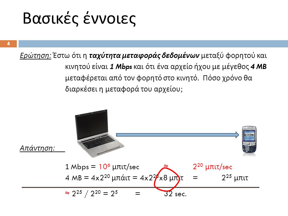 Βασικές έννοιες 4 Ερώτηση : Έστω ότι η ταχύτητα μεταφοράς δεδομένων μεταξύ φορητού και κινητού είναι 1 Mbps και ότι ένα αρχείο ήχου με μέγεθος 4 MB με