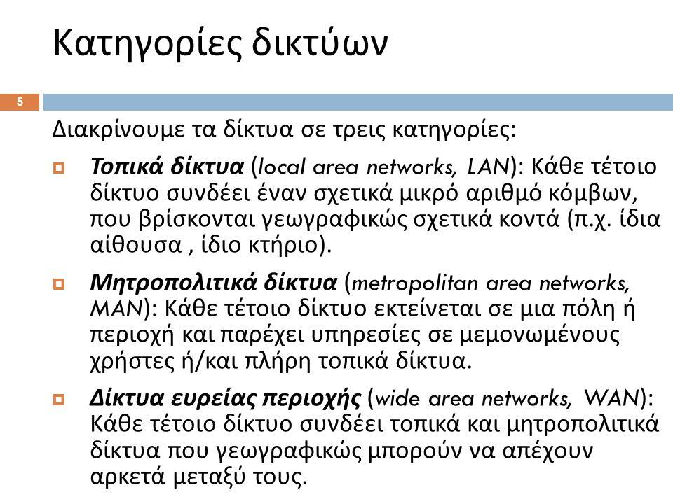 Κατηγορίες δικτύων 5 Διακρίνουμε τα δίκτυα σε τρεις κατηγορίες :  Τοπικά δίκτυα (local area networks, LAN): Κάθε τέτοιο δίκτυο συνδέει έναν σχετικά μικρό αριθμό κόμβων, που βρίσκονται γεωγραφικώς σχετικά κοντά ( π.