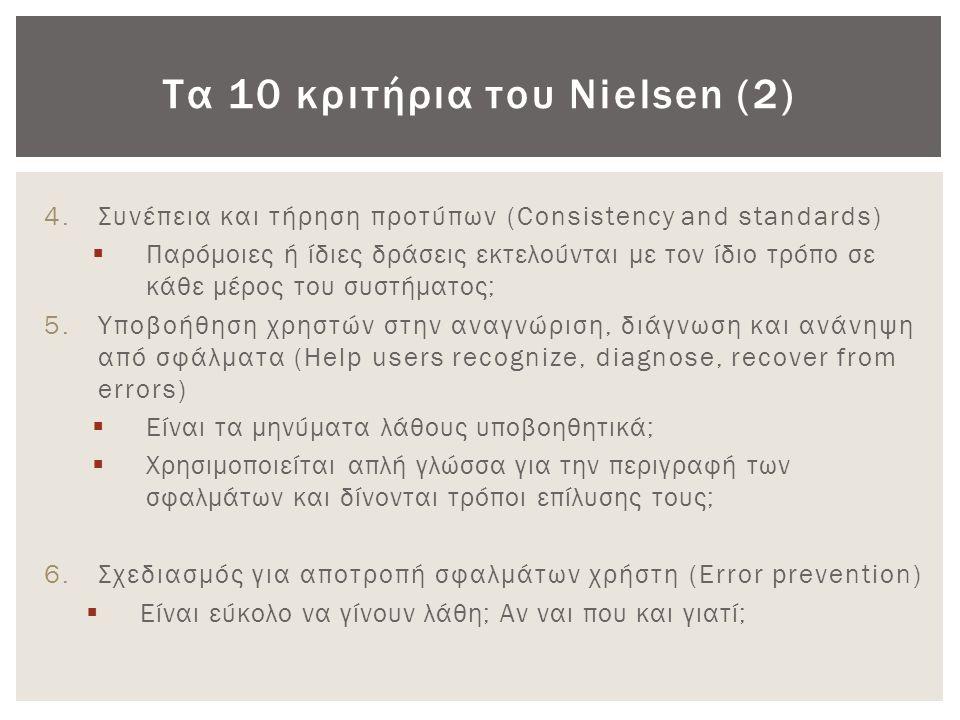Τα 10 κριτήρια του Nielsen (2) 4.Συνέπεια και τήρηση προτύπων (Consistency and standards)  Παρόμοιες ή ίδιες δράσεις εκτελούνται με τον ίδιο τρόπο σε