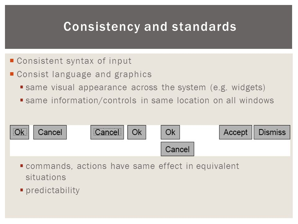 Consistency and standards  Consistent syntax of input  Consist language and graphics  same visual appearance across the system (e.g. widgets)  sam
