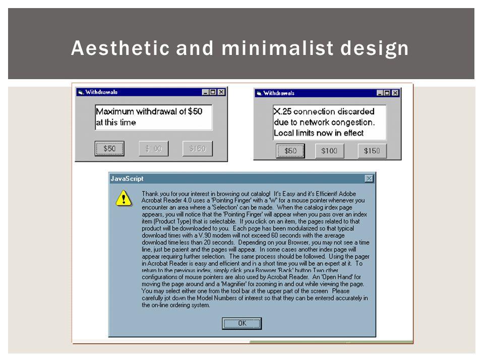 Aesthetic and minimalist design