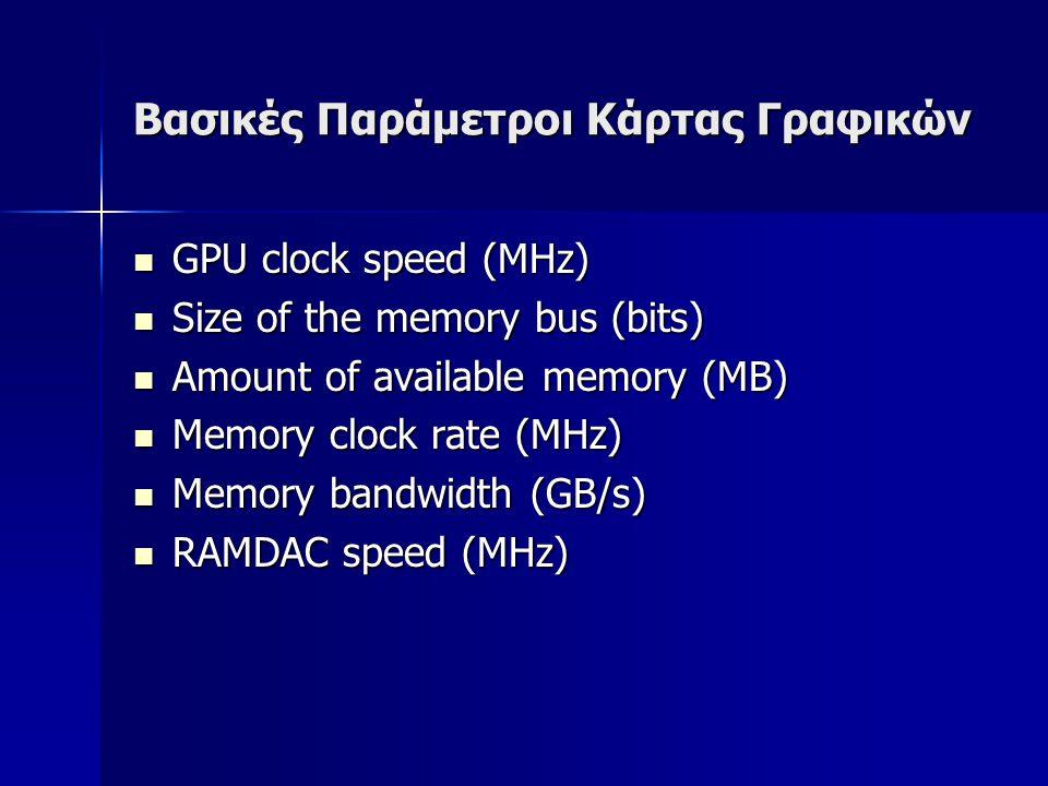 Βασικές Παράμετροι Κάρτας Γραφικών  GPU clock speed (MHz)  Size of the memory bus (bits)  Amount of available memory (MB)  Memory clock rate (MHz)  Memory bandwidth (GB/s)  RAMDAC speed (MHz)