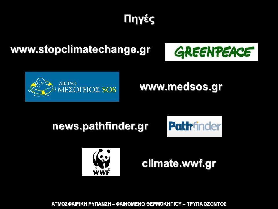 Πηγές www.stopclimatechange.gr www.medsos.gr news.pathfinder.gr ΑΤΜΟΣΦΑΙΡΙΚΗ ΡΥΠΑΝΣΗ – ΦΑΙΝΟΜΕΝΟ ΘΕΡΜΟΚΗΠΙΟΥ – ΤΡΥΠΑ ΟΖΟΝΤΟΣ climate.wwf.gr