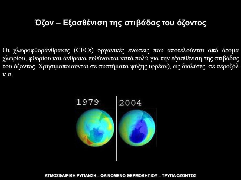 ΑΤΜΟΣΦΑΙΡΙΚΗ ΡΥΠΑΝΣΗ – ΦΑΙΝΟΜΕΝΟ ΘΕΡΜΟΚΗΠΙΟΥ – ΤΡΥΠΑ ΟΖΟΝΤΟΣ ΦΑΙΝΟΜΕΝΟ ΘΕΡΜΟΚΗΠΙΟΥ Η αύξηση των ποσοτήτων του διοξειδίου του άνθρακα και άλλων αερίων στην ατμόσφαιρα εξαιτίας ανθρώπινων δραστηριοτήτων, έχει ως αποτέλεσμα την αύξηση της ηλιακής ακτινοβολίας που παραμένει στην ατμόσφαιρα της γης και τελικά την αύξηση της θερμοκρασίας του ατμοσφαιρικού αέρα.