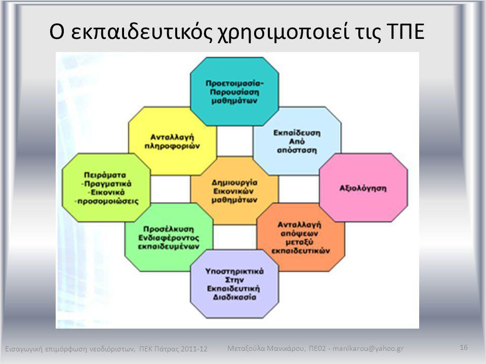 Ο εκπαιδευτικός χρησιμοποιεί τις ΤΠΕ Εισαγωγική επιμόρφωση νεοδιόριστων, ΠΕΚ Πάτρας 2011-12 Μεταξούλα Μανικάρου, ΠΕ02 - manikarou@yahoo.gr 16