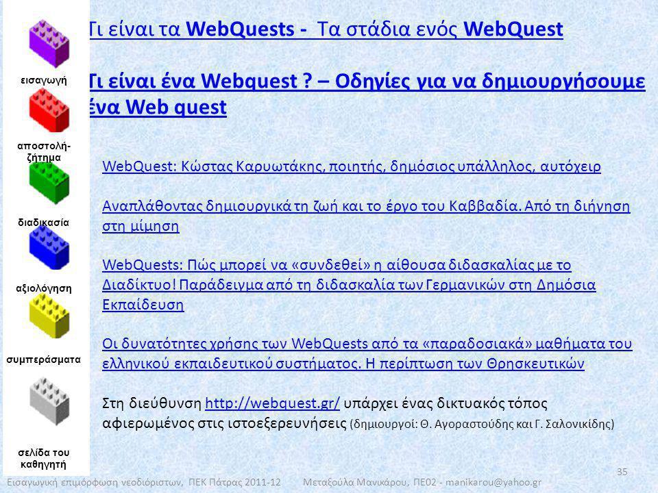 Τι είναι τα WebQuests - Τα στάδια ενός WebQuest Τι είναι ένα Webquest ? – Οδηγίες για να δημιουργήσουμε ένα Web quest εισαγωγή αποστολή- ζήτημα διαδικ