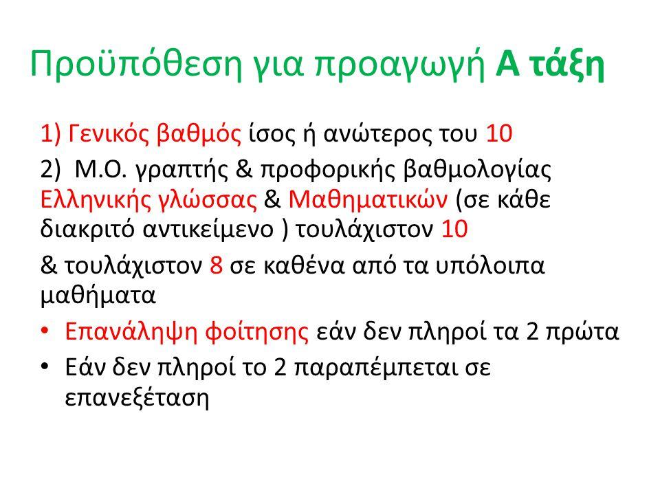 Προϋπόθεση για προαγωγή Α τάξη 1) Γενικός βαθμός ίσος ή ανώτερος του 10 2) Μ.Ο. γραπτής & προφορικής βαθμολογίας Ελληνικής γλώσσας & Μαθηματικών (σε κ