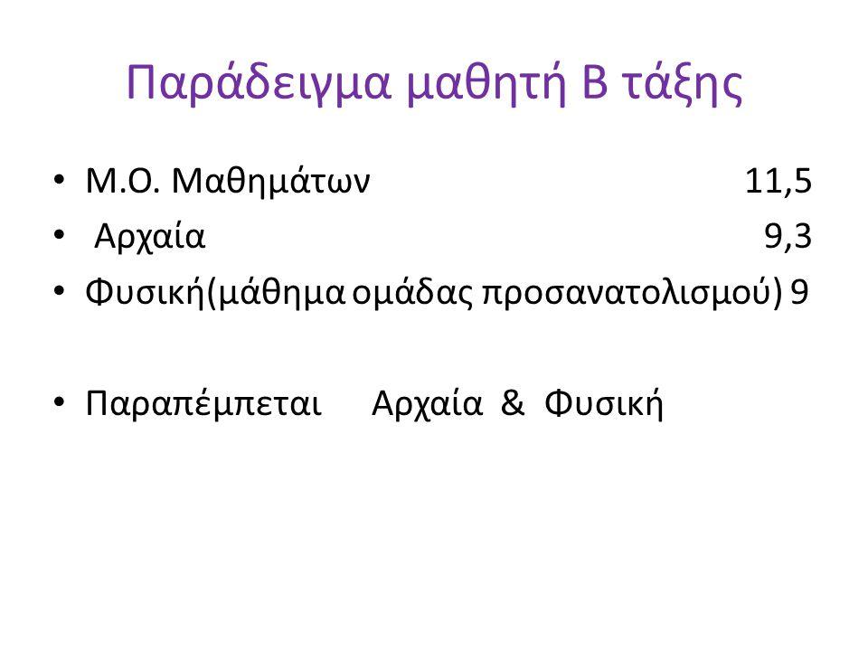 Παράδειγμα μαθητή Β τάξης • Μ.Ο. Μαθημάτων 11,5 • Αρχαία 9,3 • Φυσική(μάθημα ομάδας προσανατολισμού) 9 • Παραπέμπεται Αρχαία & Φυσική